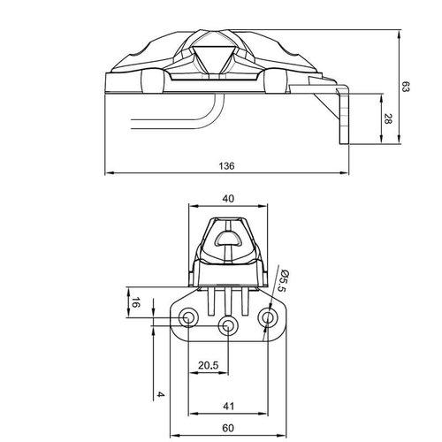 LED breedtelamp compact 12-36 volt 50cm. kabel