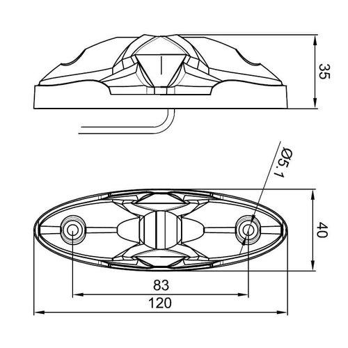 Fristom LED breedtelamp compact | 12-36v | 50cm. kabel