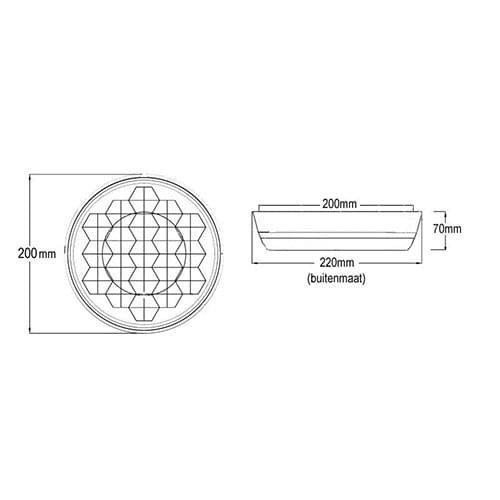 Prealux S.r.l. R&D 200mm Master amber flasher met rubberen behuizing