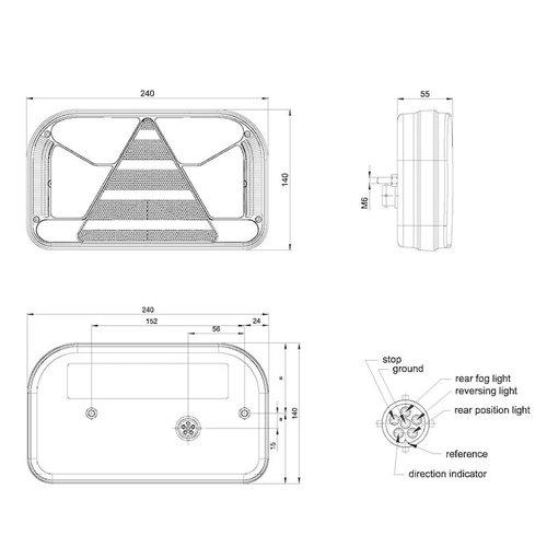 Rechts | LED achterlicht zonder kentekenlicht  | 12-36v | 6 pins