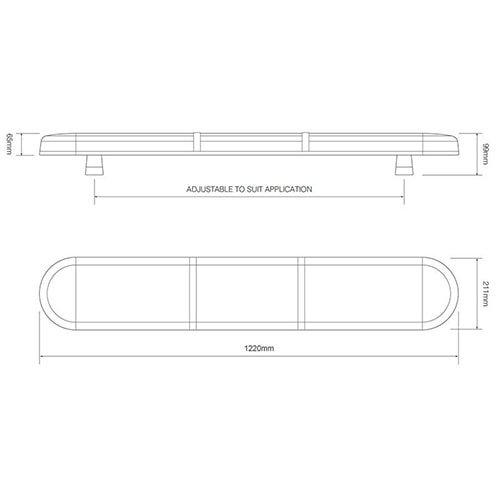 ElectraQuip  R65 LED zwaailampbalk transparante lens met 2 LED modules 1220mm | 10-30v |
