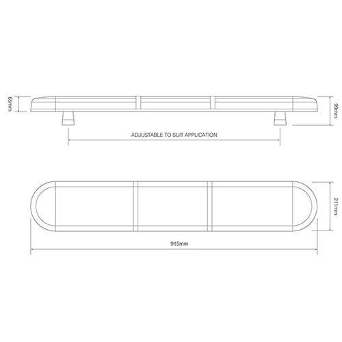R65 LED zwaailampbalk transparante lens met 2 LED modules 915mm   10-30v  