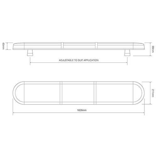 ElectraQuip  R65 LED zwaailampbalk transparante  lens met 4 LED modules 1828mm | 10-30v |