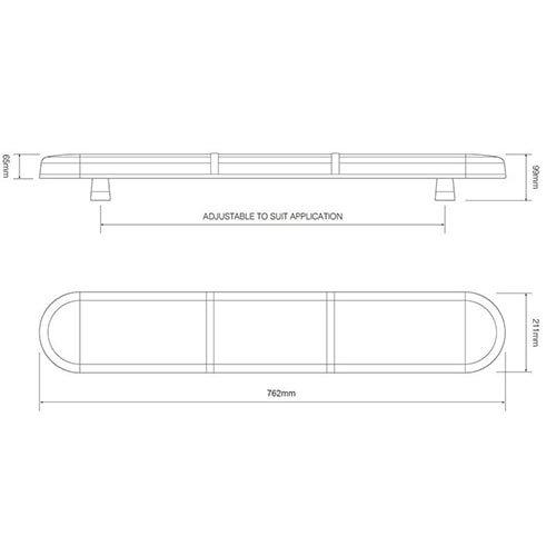 ElectraQuip  R65 LED zwaailampbalk amber lens met 2 LED modules 762mm | 10-30v |