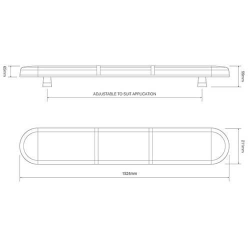 ElectraQuip  R65 LED zwaailampbalk amber lens met 2 LED modules 1524mm   10-30v  