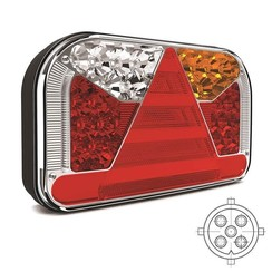 Left | LED rear light with license plate light under | 12-36V | 5 pins