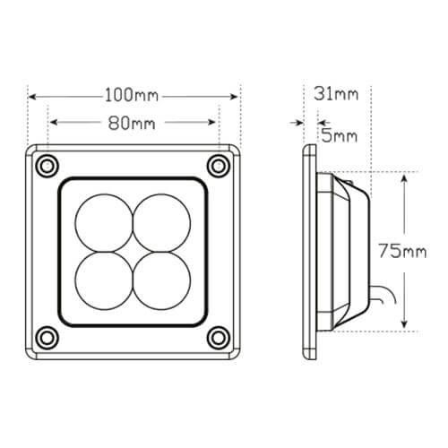 LED achteruitrijlamp   12 watt   660 lumen    12-24v   ECE-R23