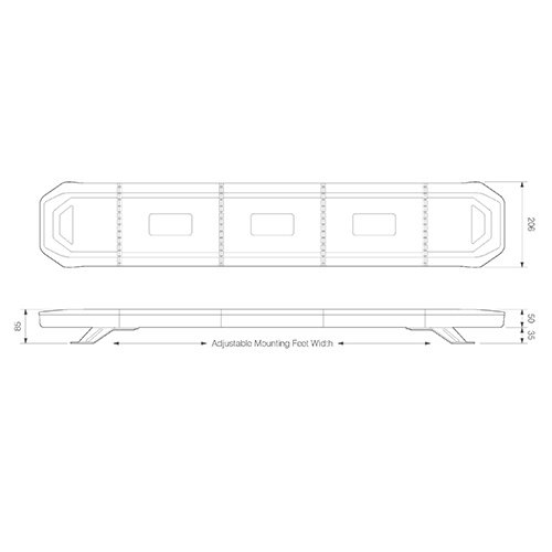 LED zwaailampbalk R65 | 1103mm eindmodules flitsend | 10-30v |