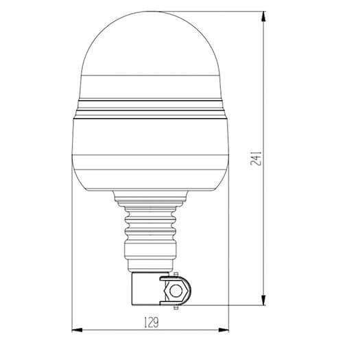 LED Zwaailamp Amber R65 met Flexi DIN montagevoet    12-24v  