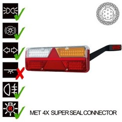 Rechts | LED Trailerlamp | dynamisch knipperlicht  | 9-36v | 7PIN+superseal+alarm