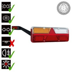 Links | LED trailerlamp | dynamisch knipperlicht  | 9-36v | 7-PIN