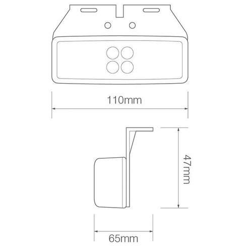 LED markeringslicht amber | 12-24v | 20cm. kabel