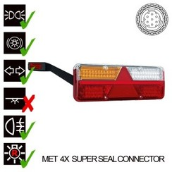 Links | LED trailerlamp | dynamisch knipperlicht  | 9-36v | 7PIN+superseal