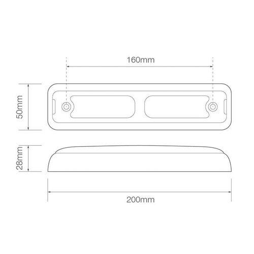 LED rem/achterlicht slimline  | 12-24v | 40cm. kabel
