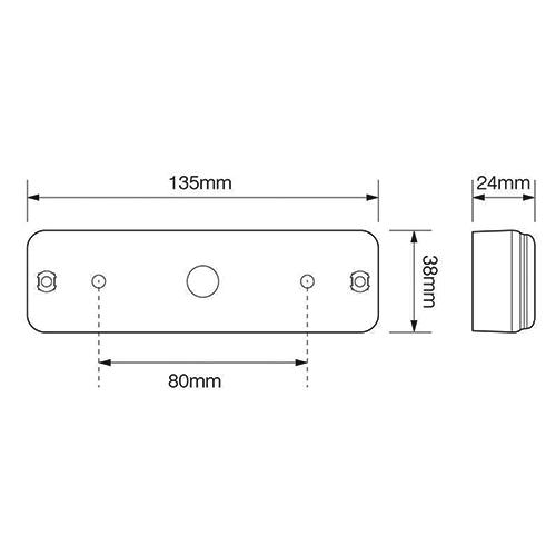 LED rem/achterlicht slimline  | 12-24v | 0,18m. kabel