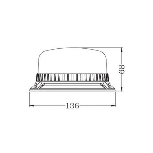 TRALERT® LED R65 zwaailamp low base, 3 boutsmontage    12-24v  