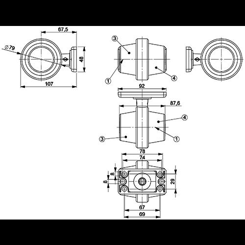LED pendellamp, korte steel & heldere lens,  | 12-24v |