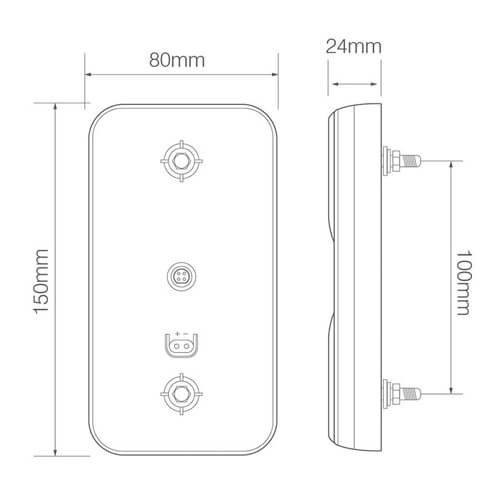 LED compact achterlicht  | 12-24v | 10m. kabel