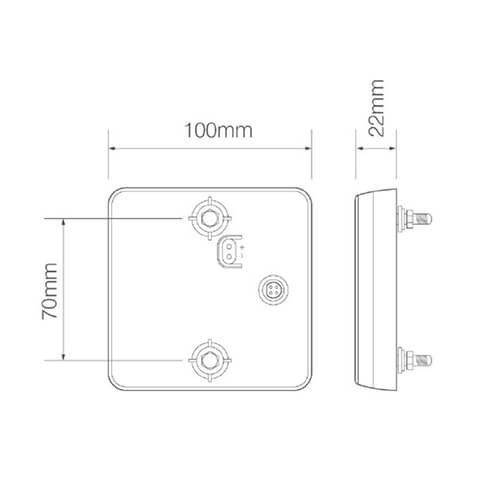 Compact LED rear light   12-24v   10m cable