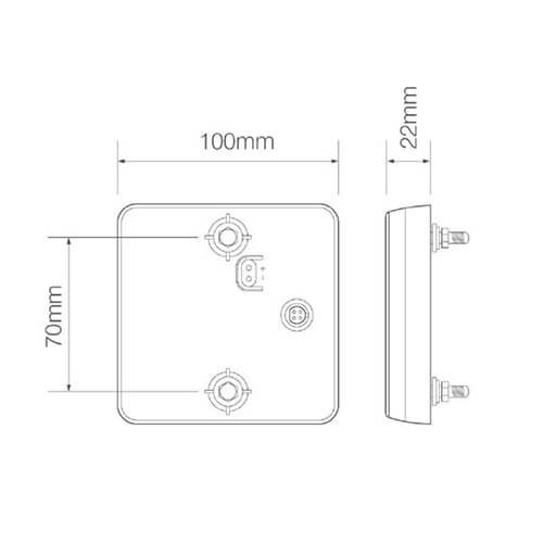 LED Autolamps  LED compact achterlicht    12-24v   10m kabel