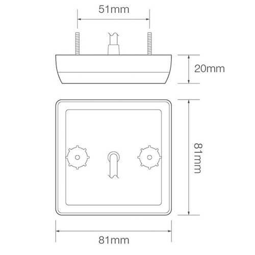 LED compact rem/achterlicht   12v   30cm. kabel