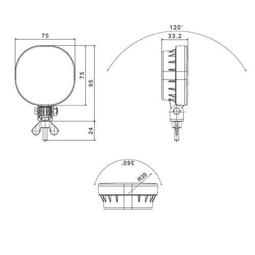 Fristom LED mistlicht    12-24v   50cm. kabel&Superseal (staande montage)