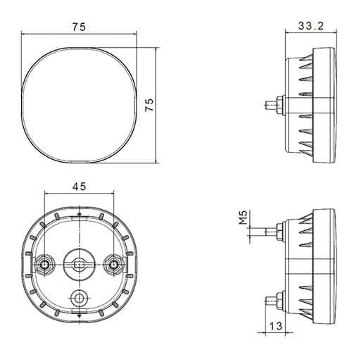LED mistlicht    12-24v   50cm. kabel (vlakke montage)