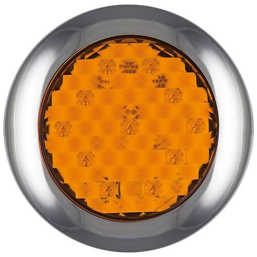 LED knipperlicht met chromen rand  | 12-24v | 0,15m. kabel