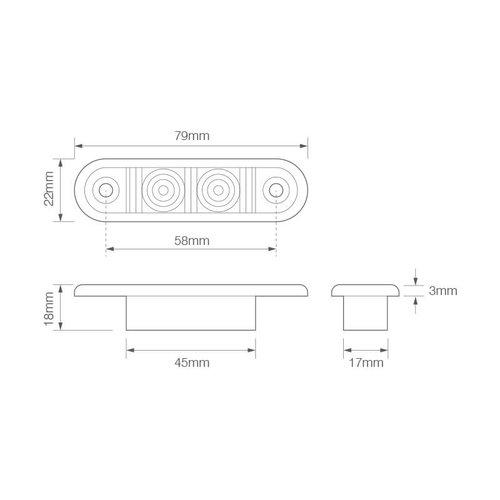 LED markeerverlichting rood inbouw  | 12-24v | 20cm. kabel