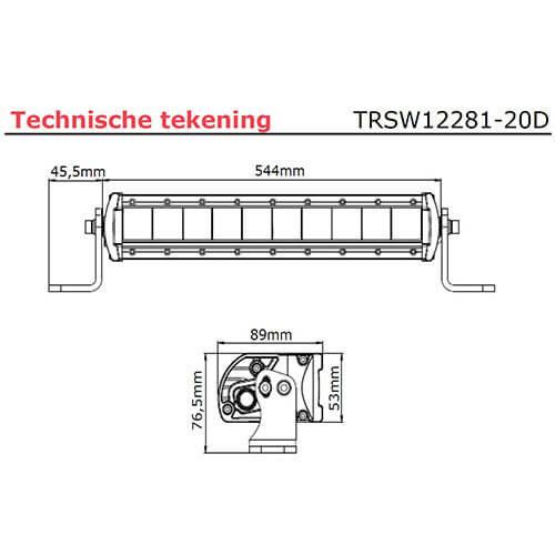 TRALERT® LED bar | 100 watt | 4000 lumen | 9-30v | 40cm. kabel + Deutsch
