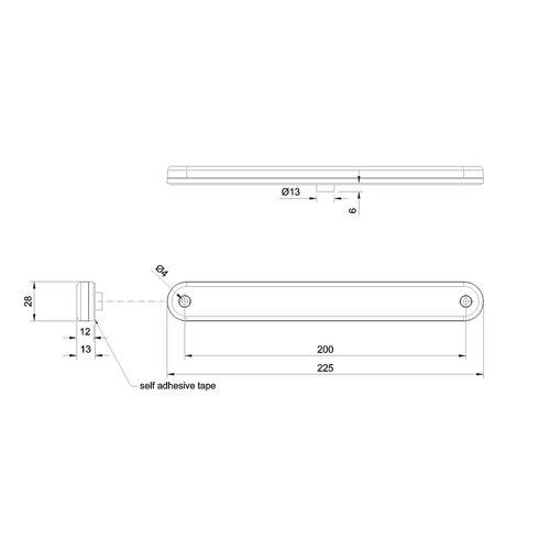LED markeerlicht rood  | 12-24v |  50cm. kabel