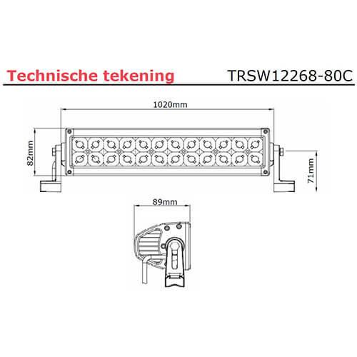 LED bar   240 watt   16800 lumen   9-30v   40cm. kabel + Deutsch