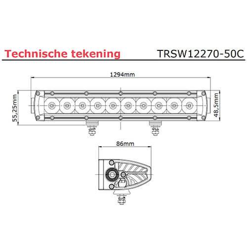 LED bar   250 watt   24900 lumen   9-30v   40cm. kabel + Deutsch