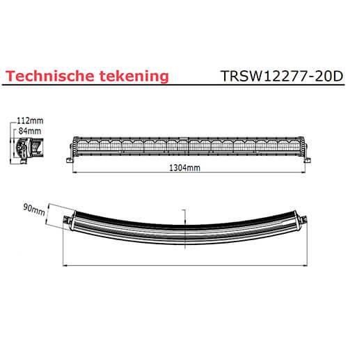 LED bar   300 watt   20000 lumen   9-30v   40cm. kabel + Deutsch
