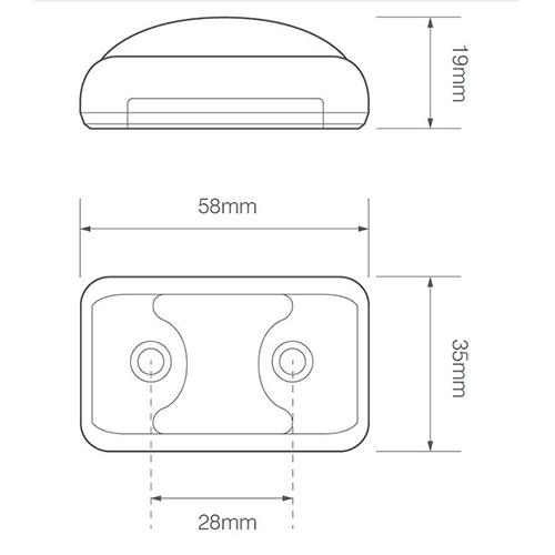 LED markeringslicht amber  | 12-24v | 40cm. kabel