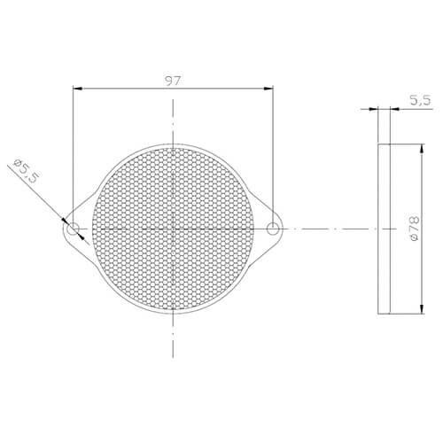 Bernstein Reflektor   78 x 5,5 mm   Schraubbefestigung