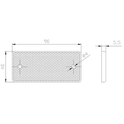 Fristom Witte reflector | 90 x 40mm | schroefbevestiging