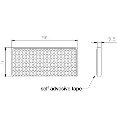 Amber reflector 90 x 40mm | 3m-adhesive strip