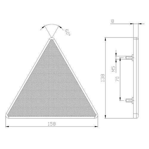 Fristom Driehoeksreflector met schroefmontage (tapeinden)