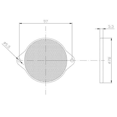 Rode reflector | 78 x 5,5mm | schroefmontage