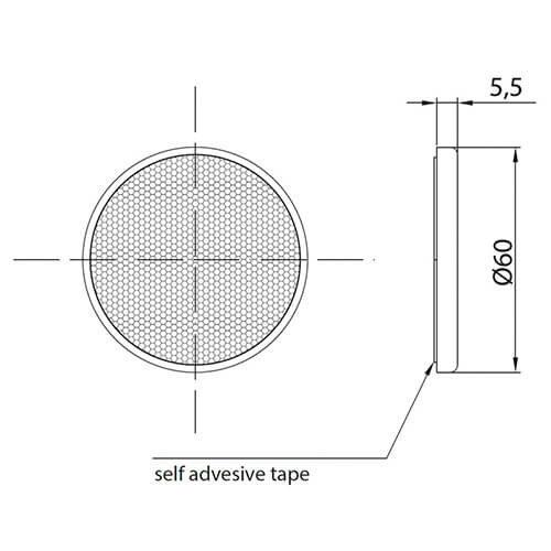 Amber reflector   60 x 5,5mm   3m-adhesive strip