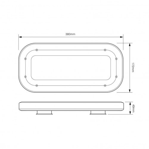Compacte (380mm) R10 minibar    12-24v   zuignap montage