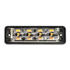 Ultra platte Slimline LED Flitser 4 LED's Rood | 10-30v |