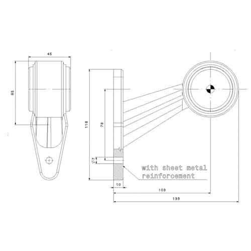 Links | LED breedtelamp  | schuine steel | 12-36v | 1,5mm² connector