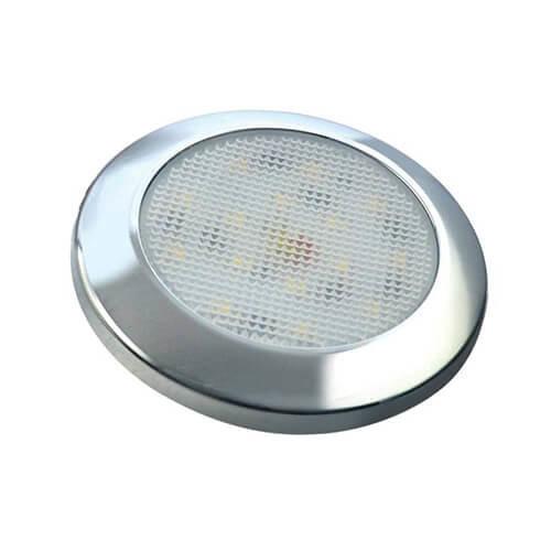 Ultraplatte LED interieurverlichting chroom  12v koud wit