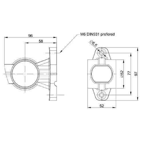 Links | LED breedtelamp  | korte steel | 12-24v | 1,5mm2 connector
