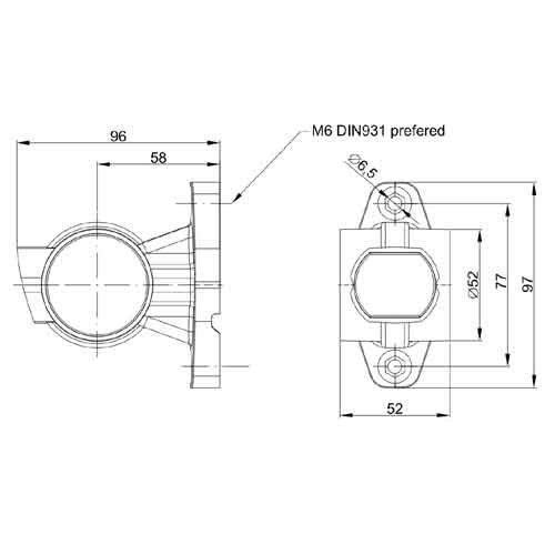 Rechts | LED breedtelamp  | korte steel | 12-36v | 1,5mm2 connector