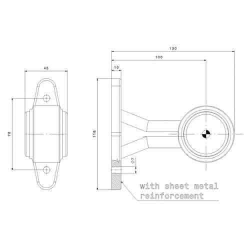 Fristom LED breedtelamp, rechte steel   12-24v   1,5mm² connector