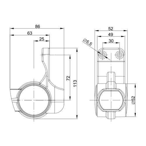 Rechts   LED breedtelamp    korte steel   12-36v   1,5mm2 connector