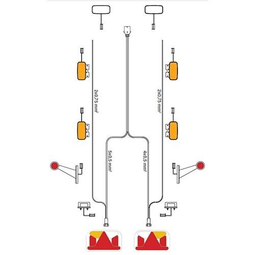 Fristom Kabelboom 5-PIN   150cm. lang met 8,0m DC-kabel & 13-polige